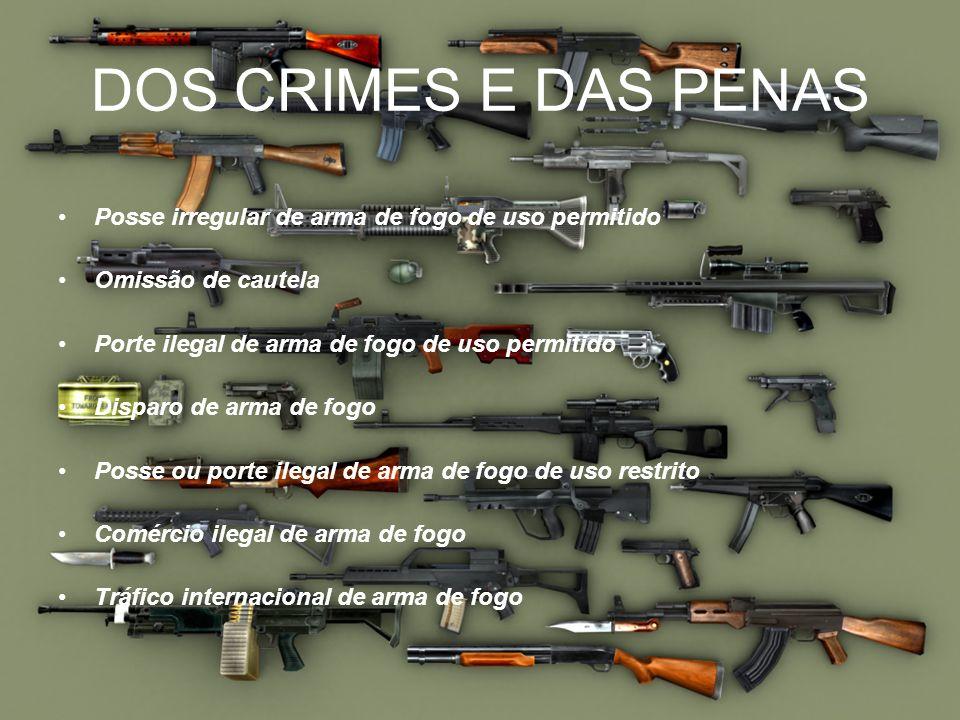 DOS CRIMES E DAS PENASPosse irregular de arma de fogo de uso permitido. Omissão de cautela. Porte ilegal de arma de fogo de uso permitido.