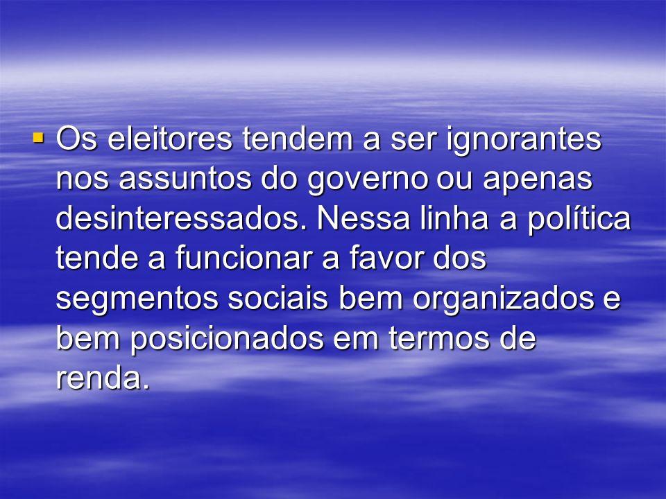 Os eleitores tendem a ser ignorantes nos assuntos do governo ou apenas desinteressados.