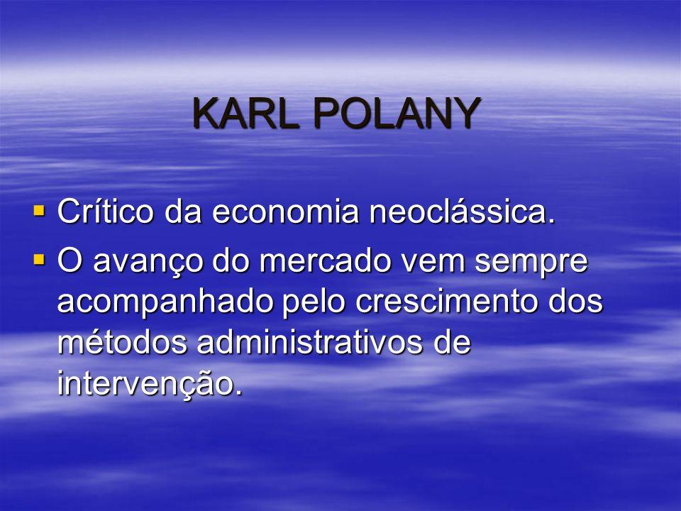 KARL POLANY Crítico da economia neoclássica.