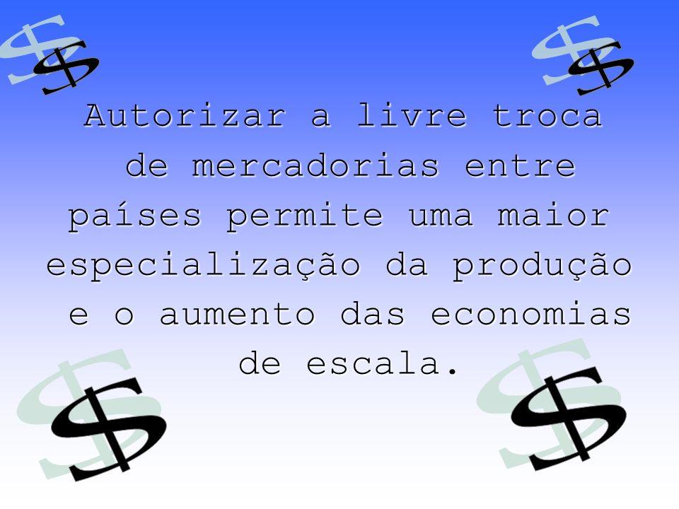 países permite uma maior especialização da produção