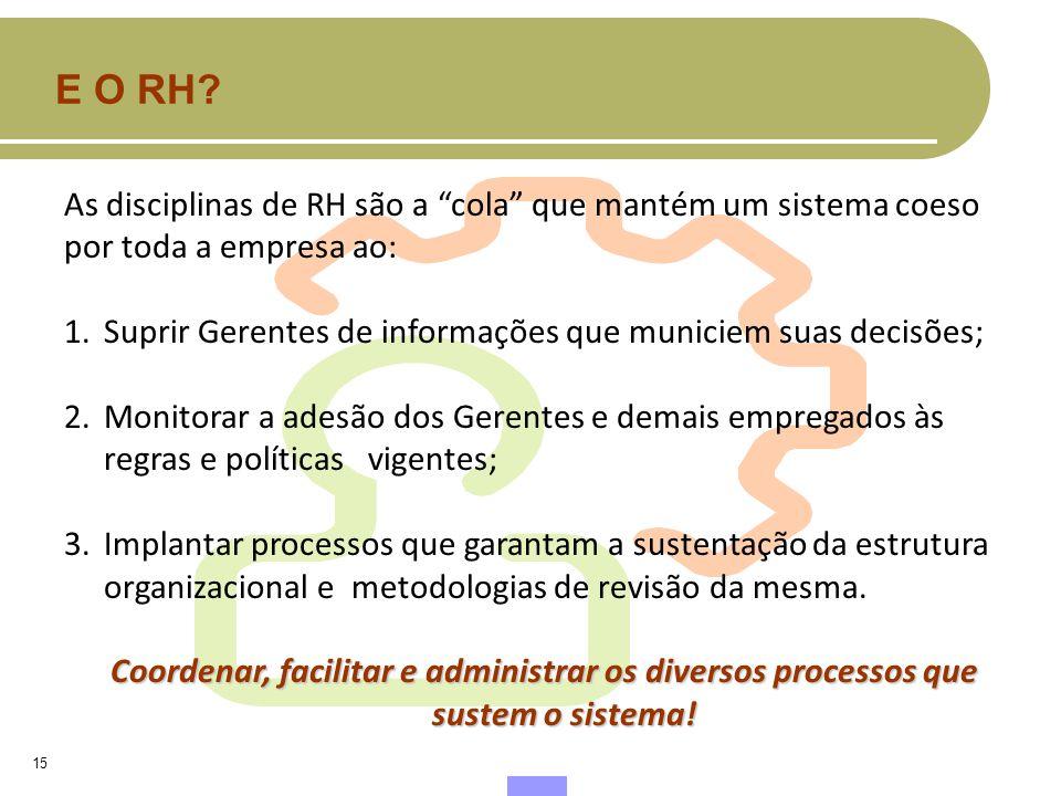E O RH As disciplinas de RH são a cola que mantém um sistema coeso