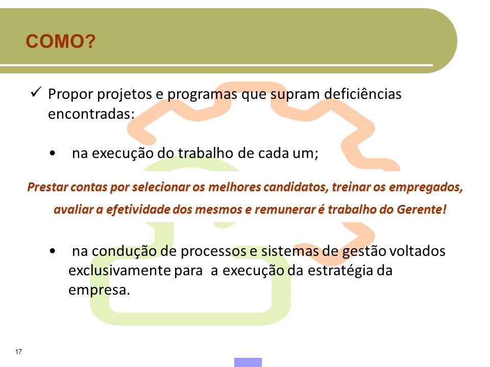 COMO Propor projetos e programas que supram deficiências encontradas: