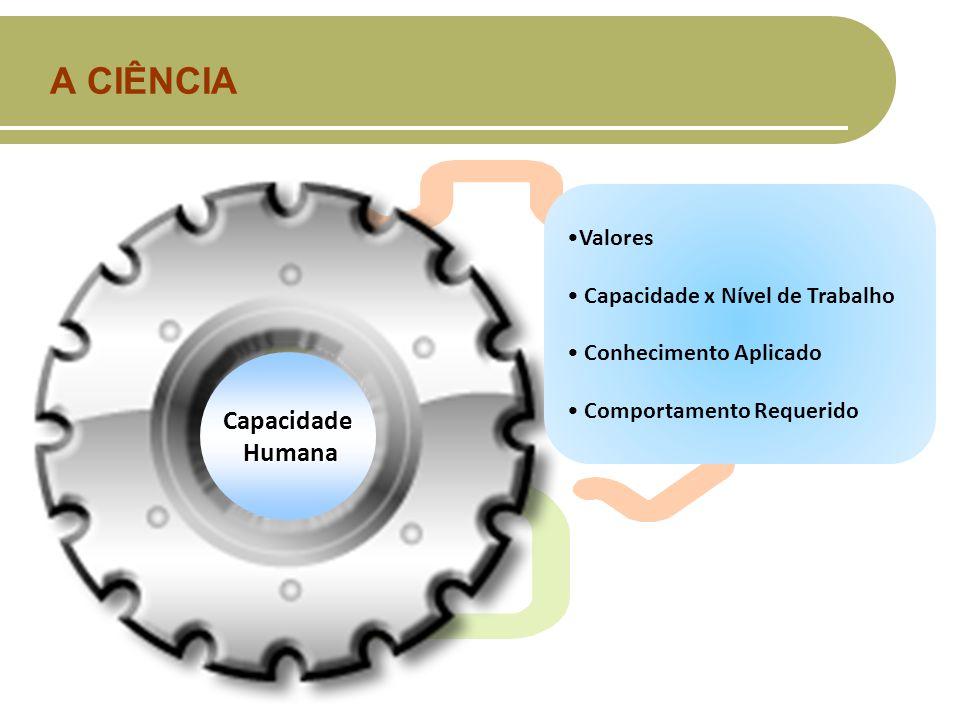 A CIÊNCIA Capacidade Humana Valores Capacidade x Nível de Trabalho