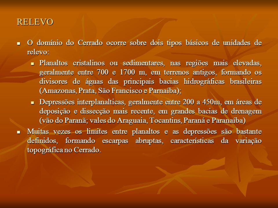 RELEVO O domínio do Cerrado ocorre sobre dois tipos básicos de unidades de relevo: