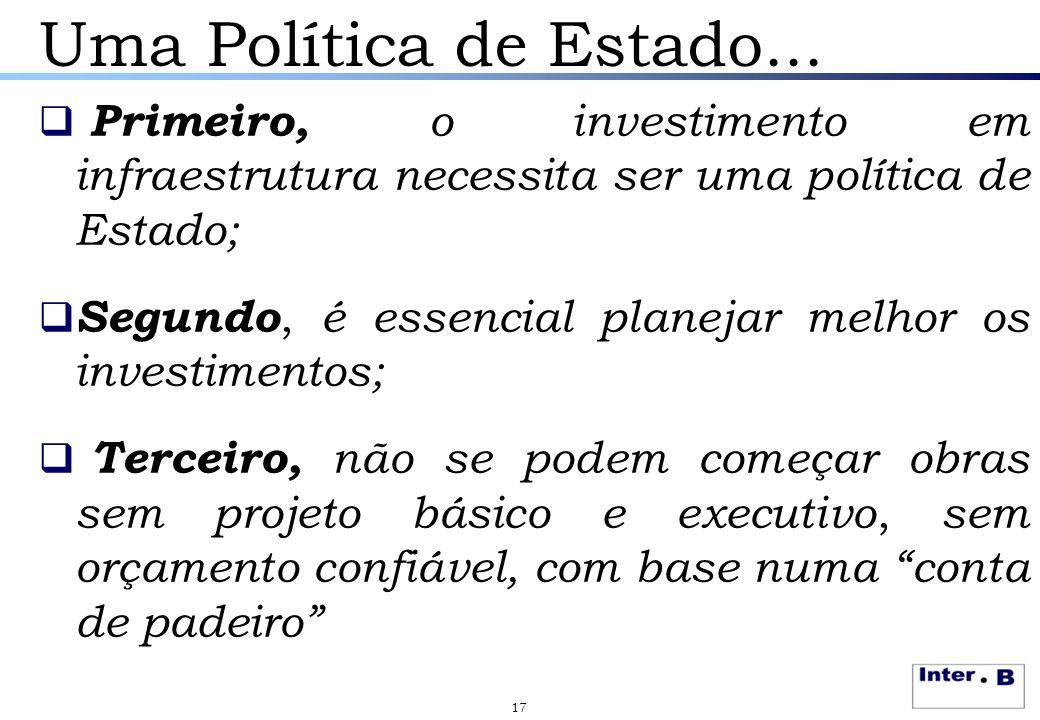 Uma Política de Estado... Primeiro, o investimento em infraestrutura necessita ser uma política de Estado;