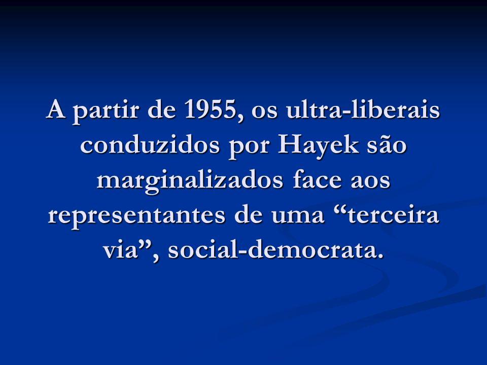 A partir de 1955, os ultra-liberais conduzidos por Hayek são marginalizados face aos representantes de uma terceira via , social-democrata.