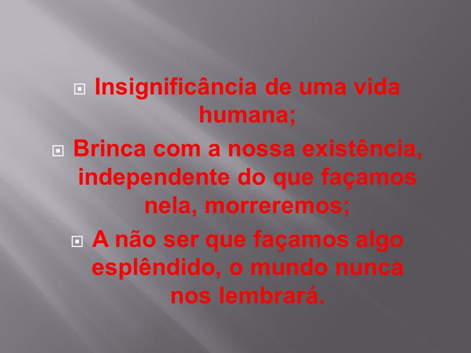 Insignificância de uma vida humana;