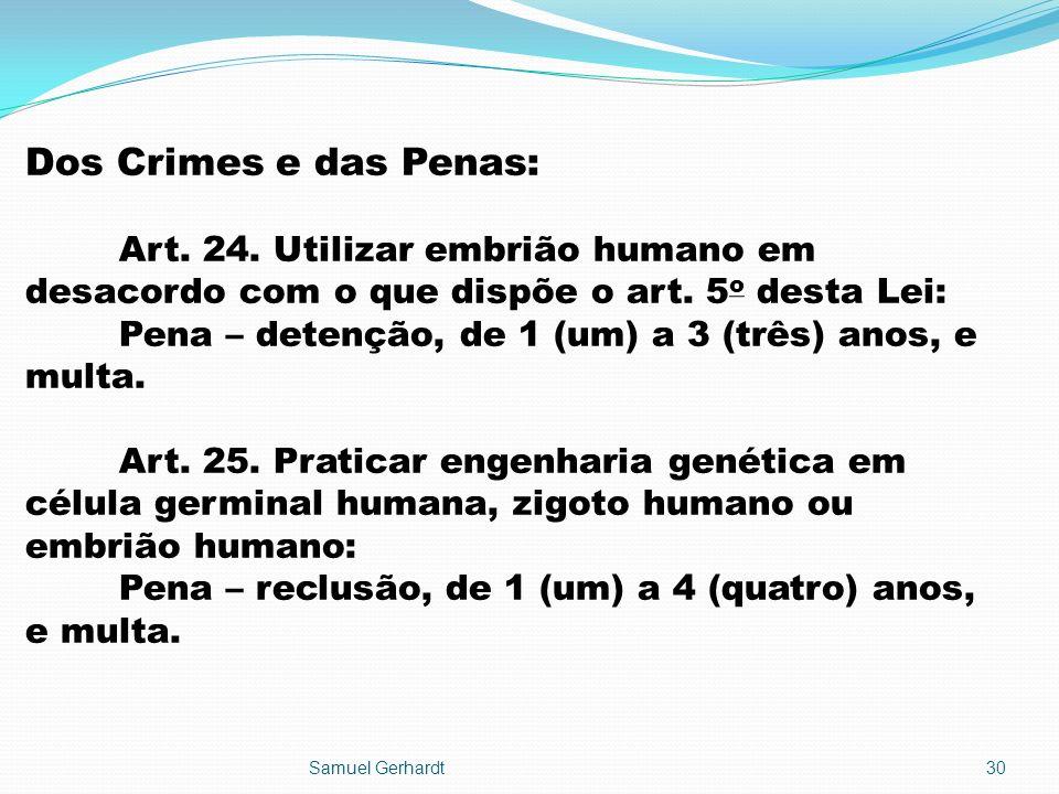 Dos Crimes e das Penas: Art. 24