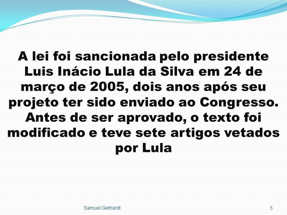 A lei foi sancionada pelo presidente Luis Inácio Lula da Silva em 24 de março de 2005, dois anos após seu projeto ter sido enviado ao Congresso. Antes de ser aprovado, o texto foi modificado e teve sete artigos vetados por Lula