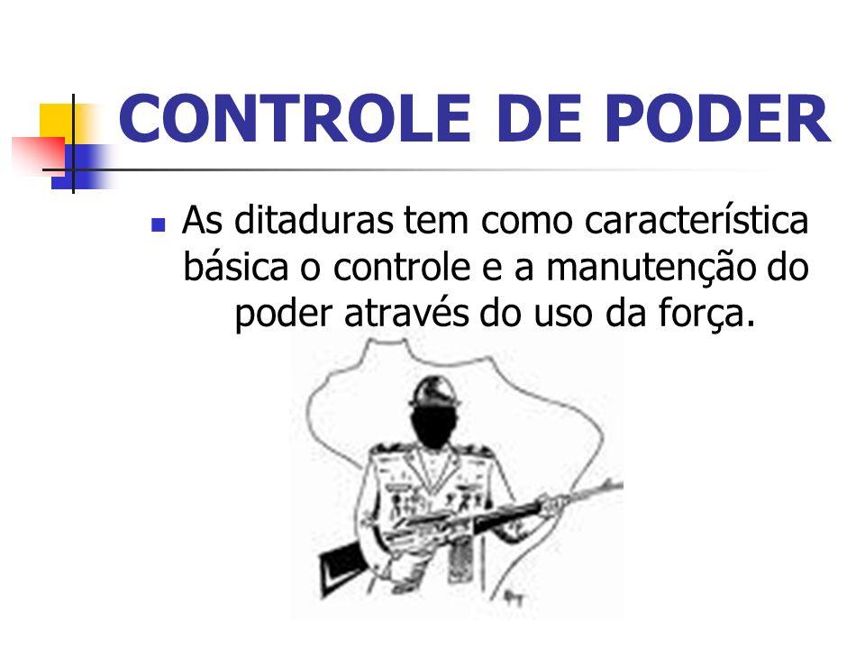 CONTROLE DE PODER As ditaduras tem como característica básica o controle e a manutenção do poder através do uso da força.