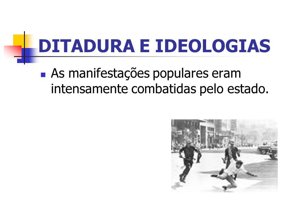 DITADURA E IDEOLOGIAS As manifestações populares eram intensamente combatidas pelo estado.