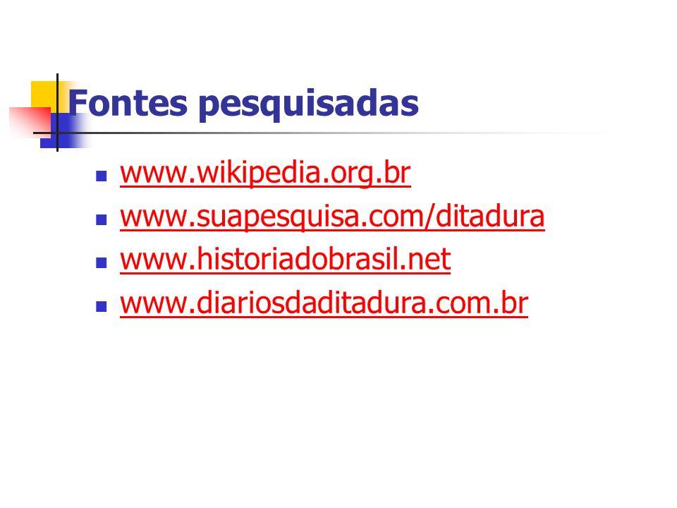 Fontes pesquisadas www.wikipedia.org.br www.suapesquisa.com/ditadura