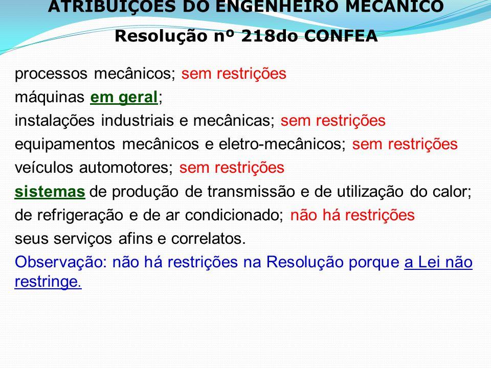 ATRIBUIÇÕES DO ENGENHEIRO MECÂNICO Resolução nº 218do CONFEA