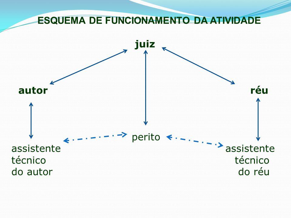 ESQUEMA DE FUNCIONAMENTO DA ATIVIDADE juiz autor réu perito assistente assistente técnico técnico do autor do réu