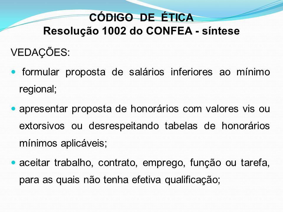 CÓDIGO DE ÉTICA Resolução 1002 do CONFEA - síntese