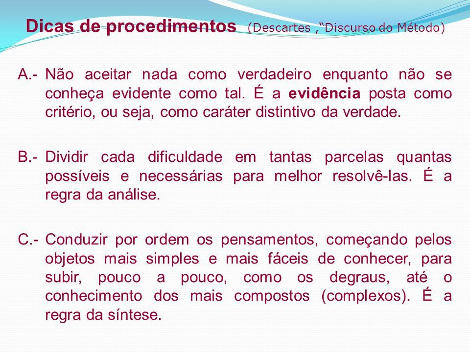 Dicas de procedimentos (Descartes , Discurso do Método)