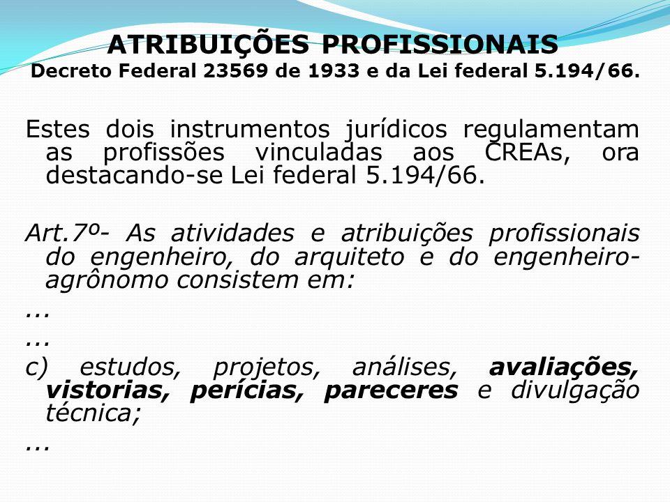 ATRIBUIÇÕES PROFISSIONAIS Decreto Federal 23569 de 1933 e da Lei federal 5.194/66.