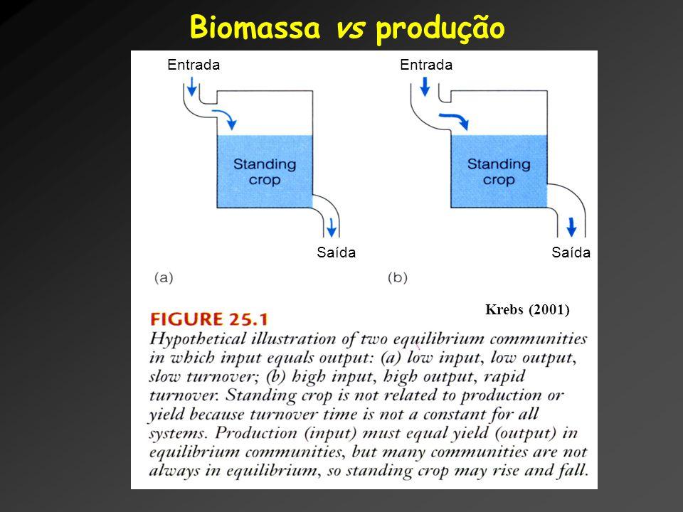 Biomassa vs produção Krebs (2001) Entrada Saída