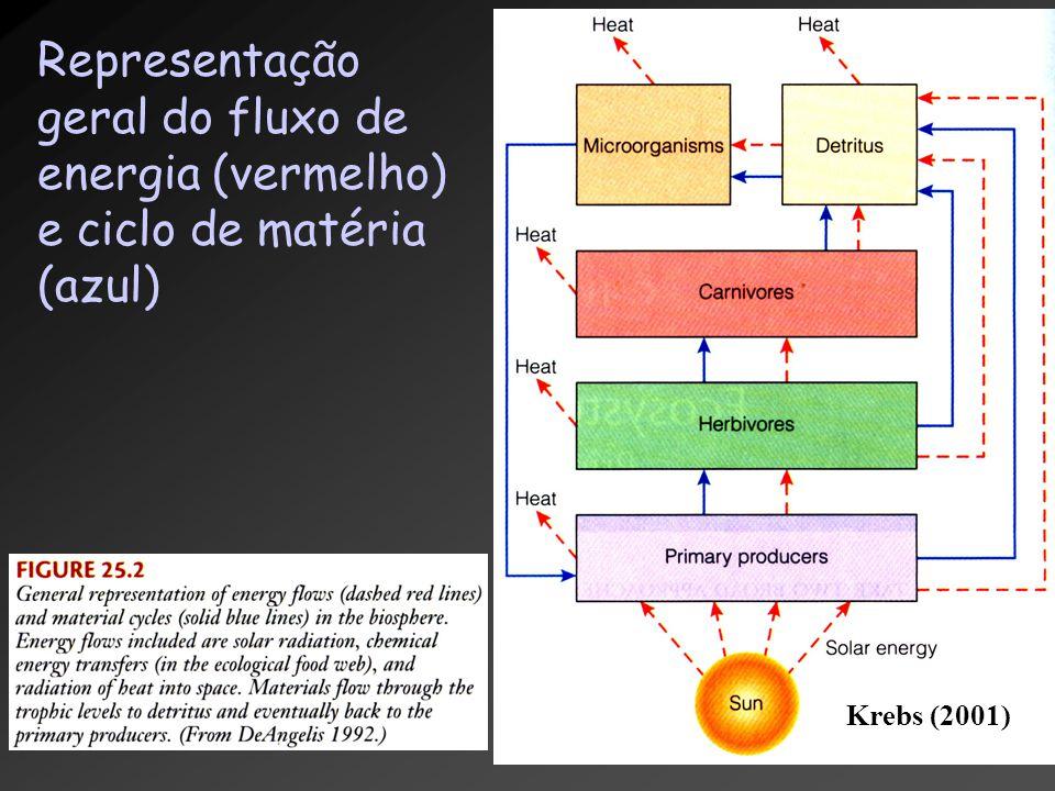 Krebs (2001) Representação geral do fluxo de energia (vermelho) e ciclo de matéria (azul)