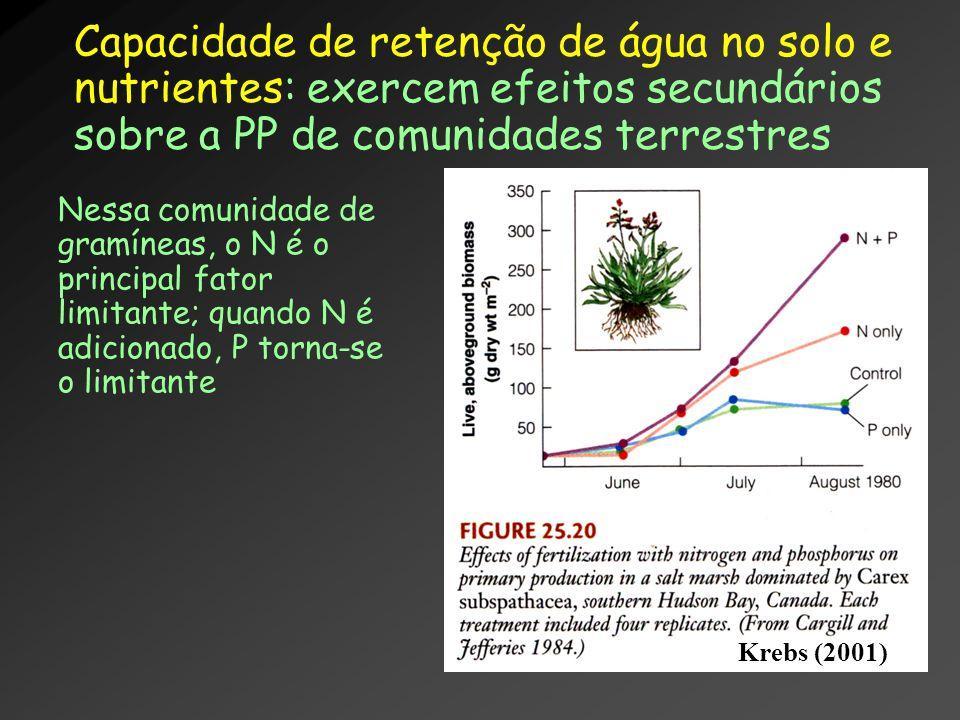 Capacidade de retenção de água no solo e nutrientes: exercem efeitos secundários sobre a PP de comunidades terrestres