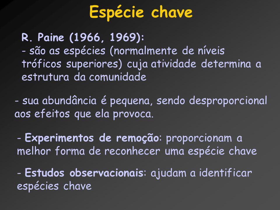 Espécie chave R. Paine (1966, 1969):