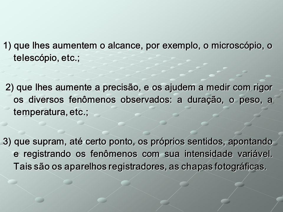 1) que lhes aumentem o alcance, por exemplo, o microscópio, o telescópio, etc.;