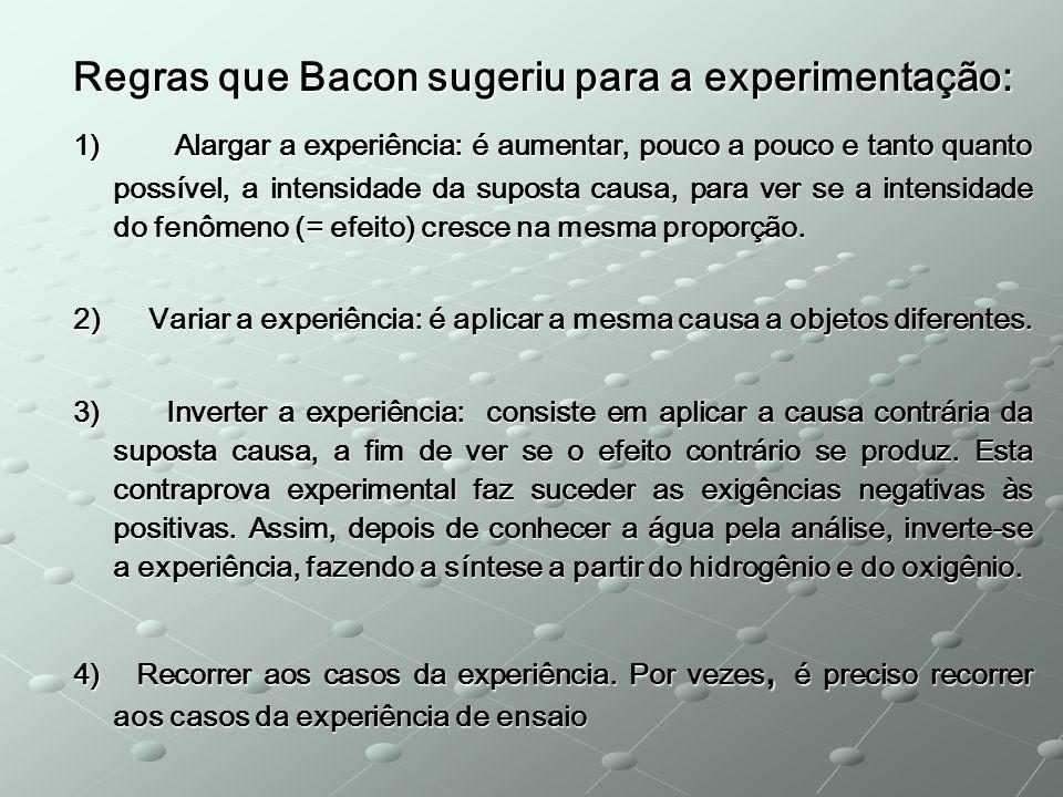 Regras que Bacon sugeriu para a experimentação: