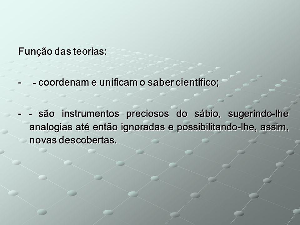 Função das teorias: - - coordenam e unificam o saber científico;