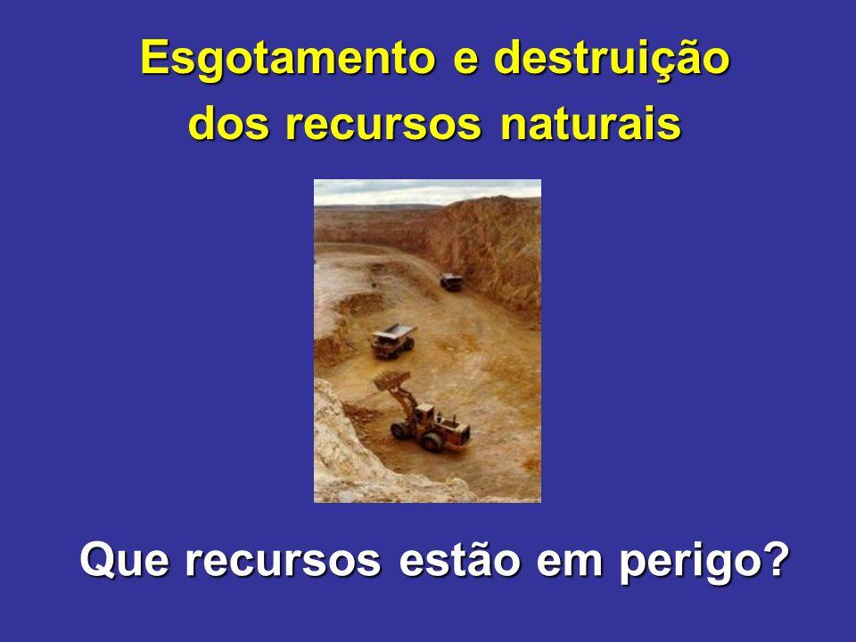 Esgotamento e destruição Que recursos estão em perigo