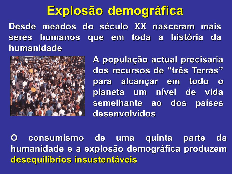 Explosão demográfica Desde meados do século XX nasceram mais seres humanos que em toda a história da humanidade.