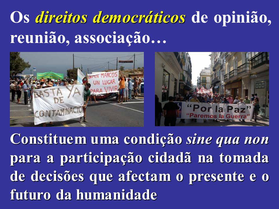 Os direitos democráticos de opinião, reunião, associação…
