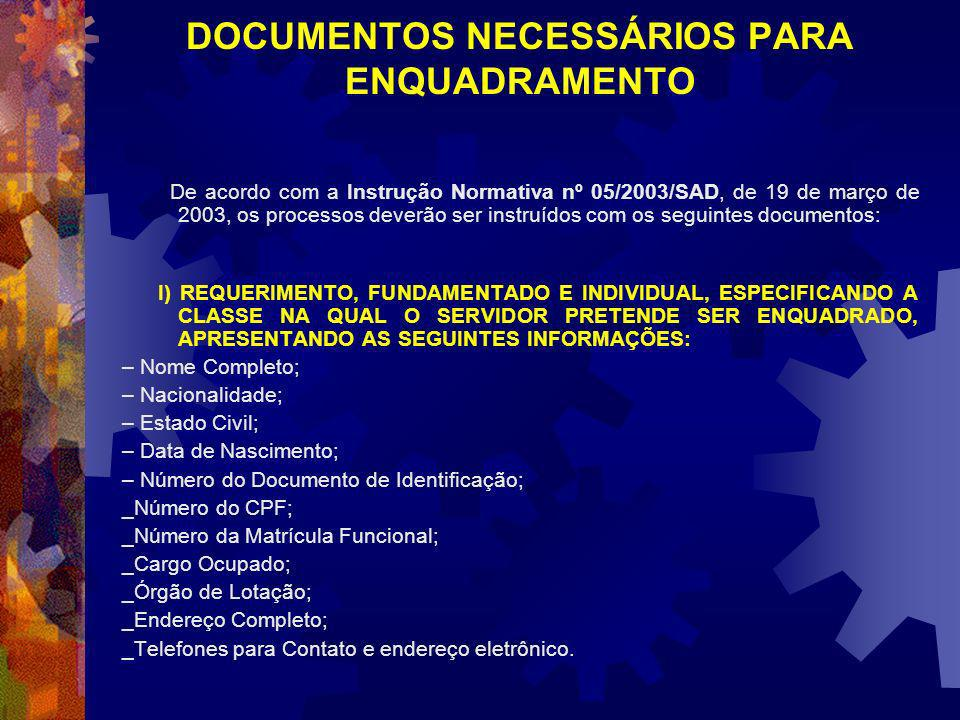 DOCUMENTOS NECESSÁRIOS PARA ENQUADRAMENTO