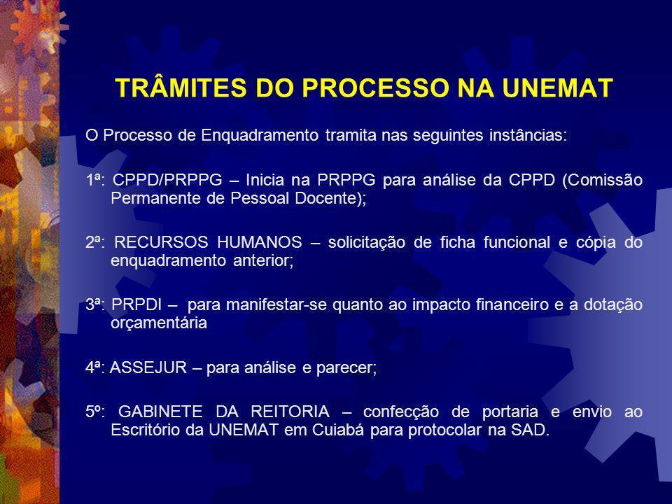 TRÂMITES DO PROCESSO NA UNEMAT