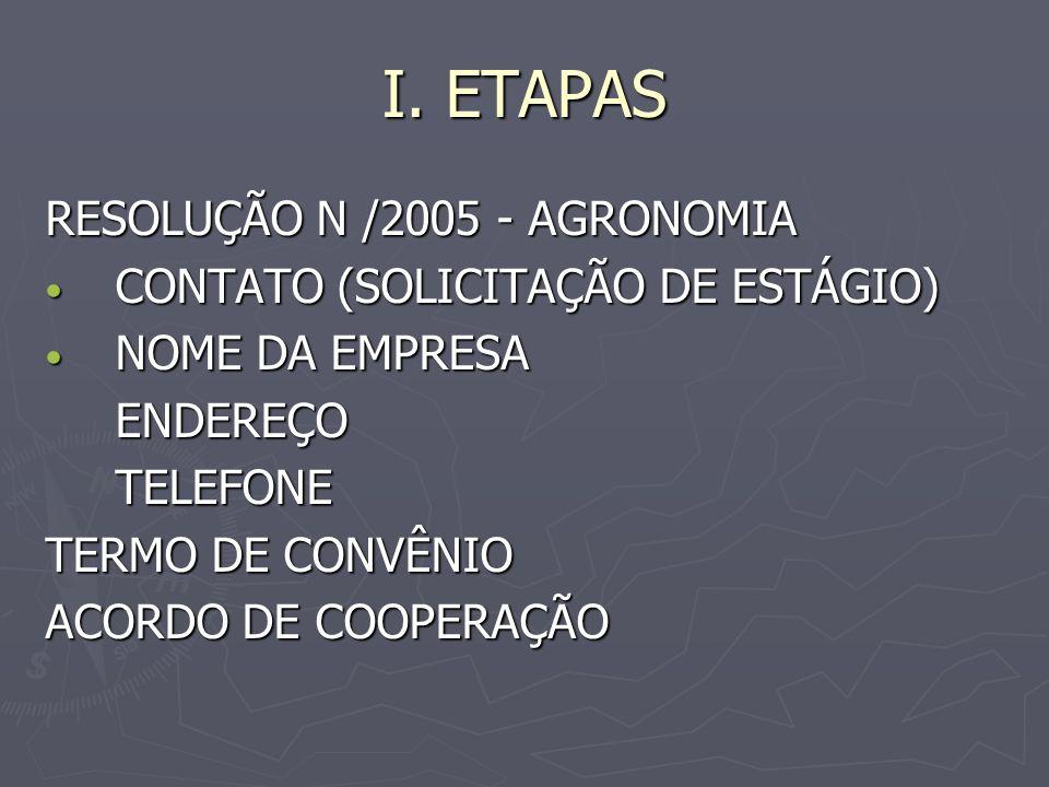 I. ETAPAS RESOLUÇÃO N /2005 - AGRONOMIA