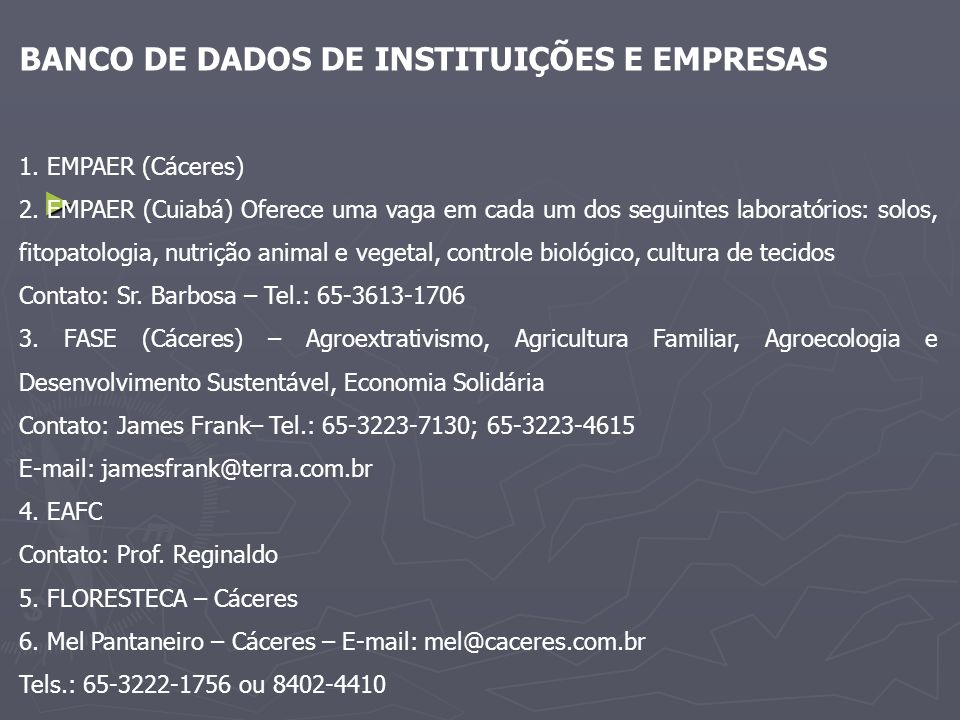 BANCO DE DADOS DE INSTITUIÇÕES E EMPRESAS