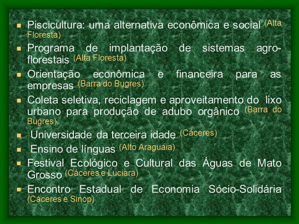 Piscicultura: uma alternativa econômica e social (Alta Floresta)