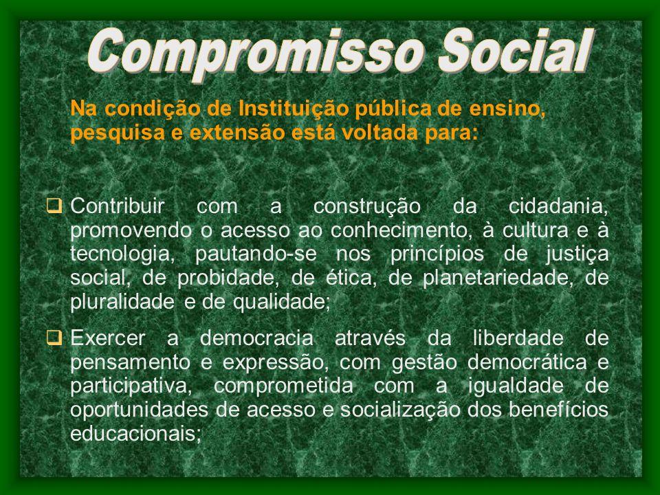 Compromisso Social Na condição de Instituição pública de ensino, pesquisa e extensão está voltada para: