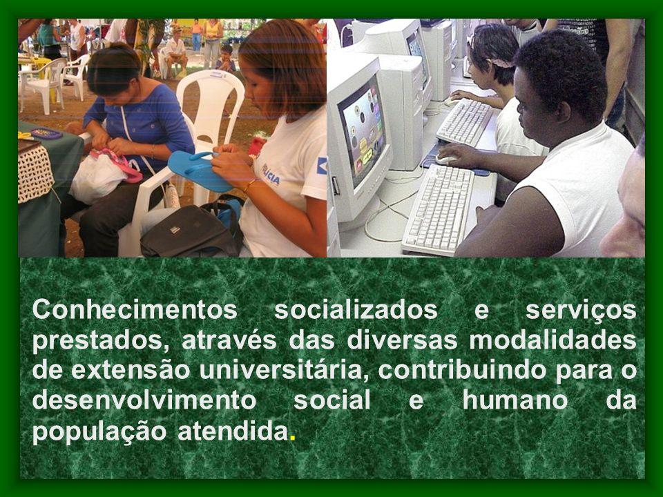 Conhecimentos socializados e serviços prestados, através das diversas modalidades de extensão universitária, contribuindo para o desenvolvimento social e humano da população atendida.