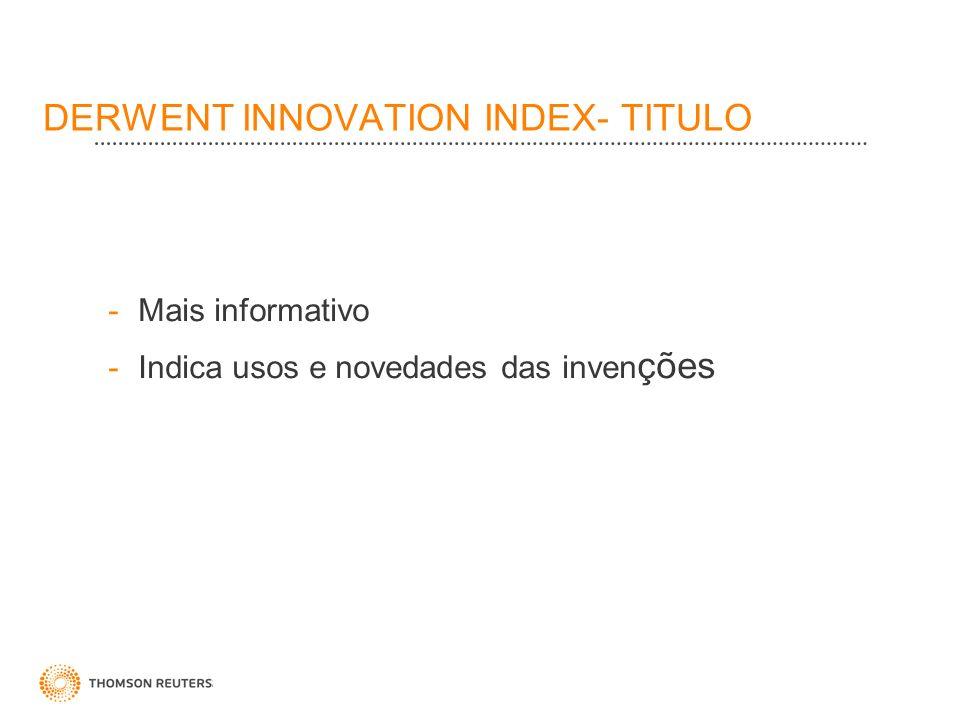 DERWENT INNOVATION INDEX- TITULO