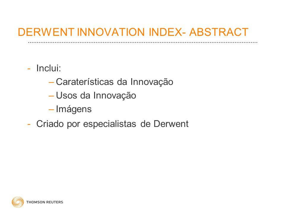 DERWENT INNOVATION INDEX- ABSTRACT