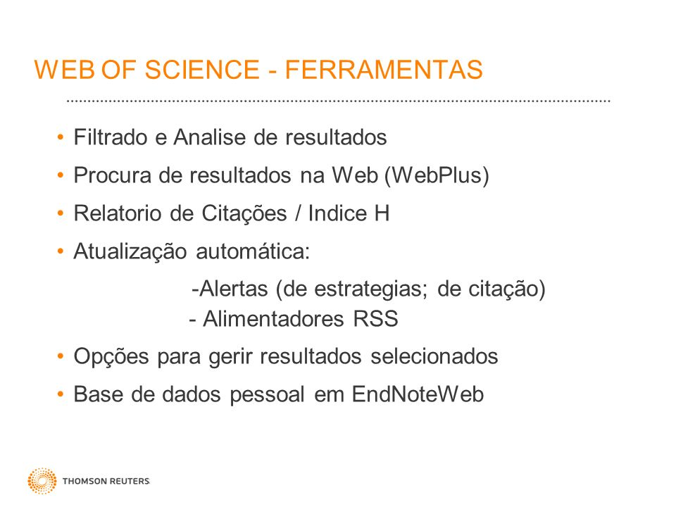 WEB OF SCIENCE - FERRAMENTAS