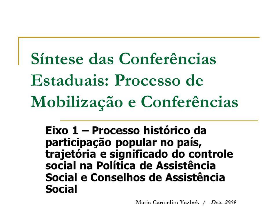 Síntese das Conferências Estaduais: Processo de Mobilização e Conferências