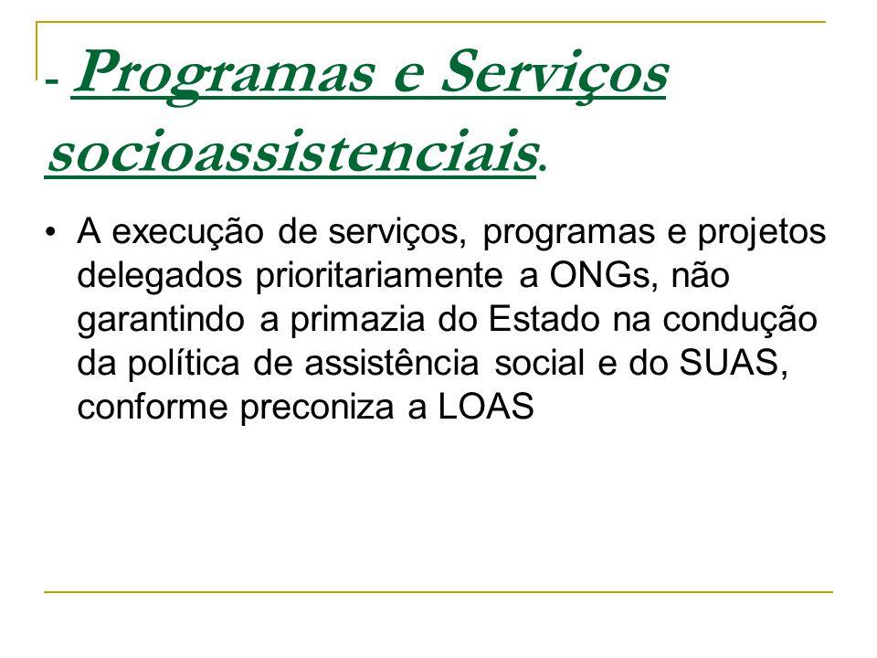 - Programas e Serviços socioassistenciais.