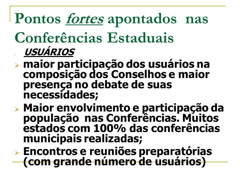 Pontos fortes apontados nas Conferências Estaduais