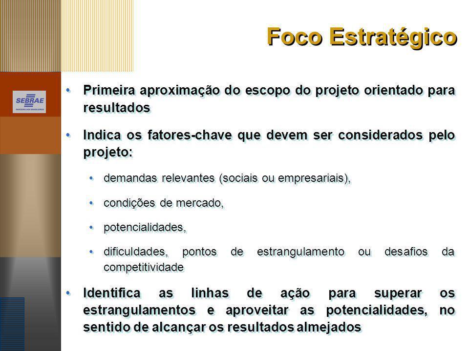 Foco Estratégico Primeira aproximação do escopo do projeto orientado para resultados.