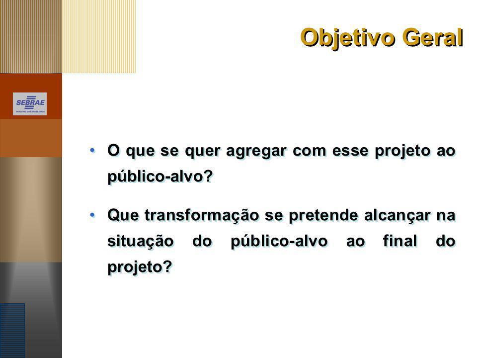 Objetivo Geral O que se quer agregar com esse projeto ao público-alvo