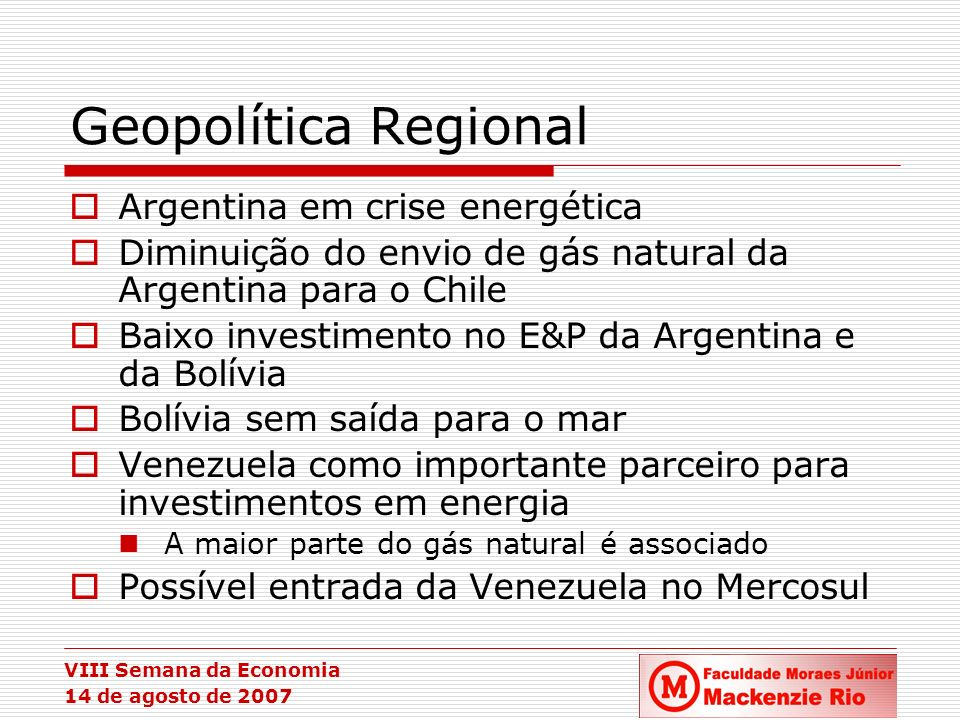 Geopolítica Regional Argentina em crise energética