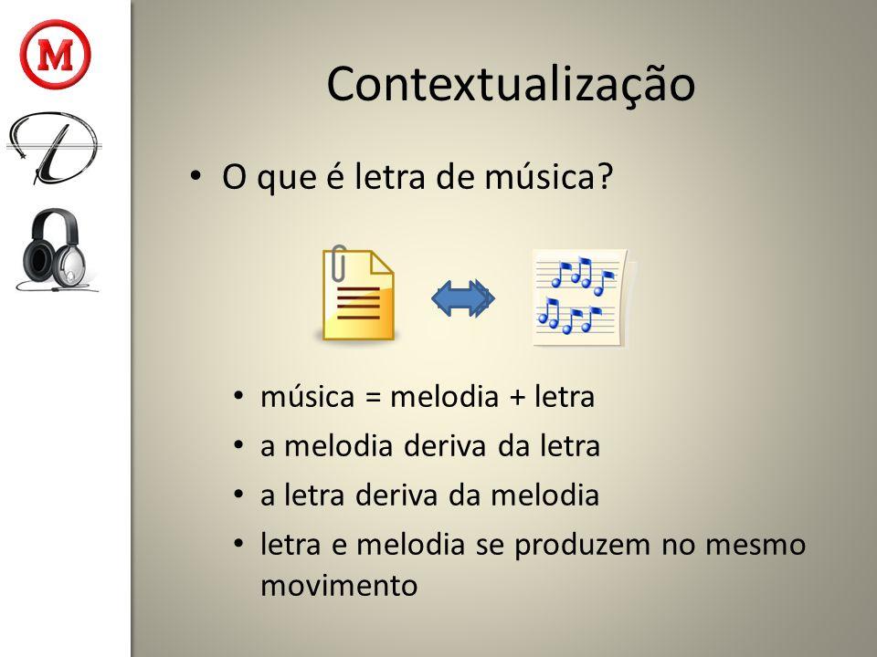 Contextualização O que é letra de música música = melodia + letra