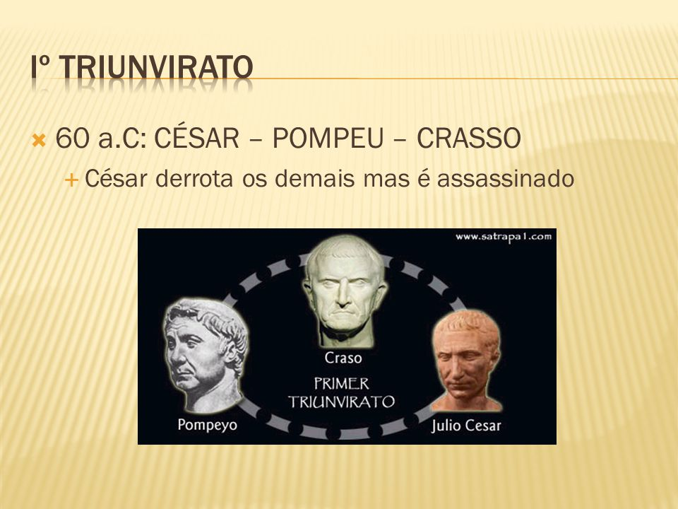 Iº Triunvirato 60 a.C: CÉSAR – POMPEU – CRASSO