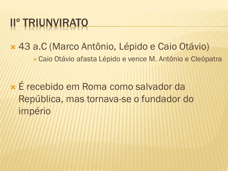 Iiº triunvirato 43 a.C (Marco Antônio, Lépido e Caio Otávio)